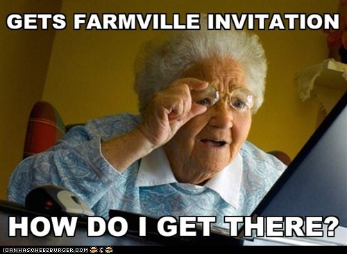 computer facebook Farmville old woman senior citizen - 5605056000