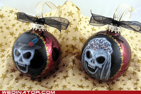 bride,Christmas ornaments,funny wedding photos,groom,skeletons,skulls