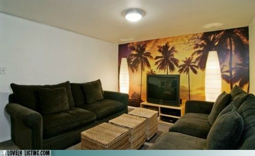 beach cave living room mural palm trees