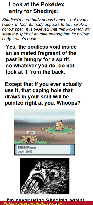 disturbing gameplay pokedex shedinja souls