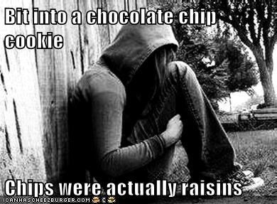 cookies,emolulz,First World Problems,raisins