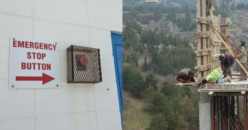bricks roof scaffolding ladder job not safe falling work worksite no harness tools osha unsafe fire exit jo38ma3 - 5607941