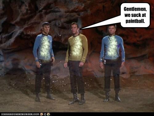 Captain Kirk DeForest Kelley gentelmen Leonard Nimoy McCoy paintball Shatnerday Spock Star Trek suck William Shatner - 5608121600