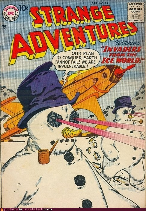 comic book DC flamethrower snowmen superman wtf