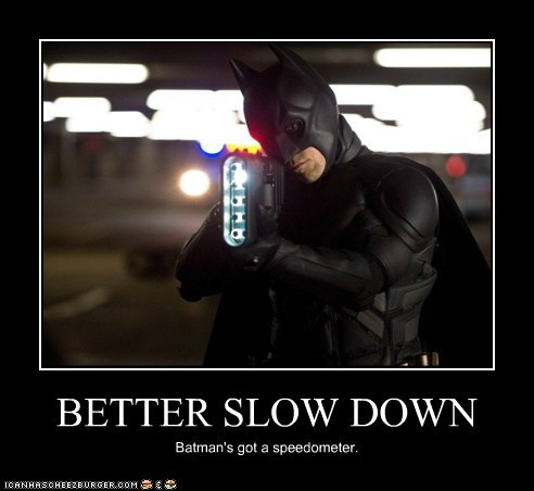 batman bruce wayne christian bale slow down speeding speedometer the dark knight