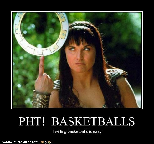 basketballs,chakram,easy,Lucy Lawless,twirling,Xena,Xena Warrior Princess