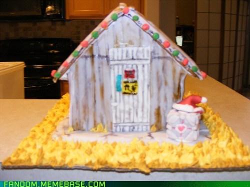 companion cube Fan Art gingerbread house portal 2 - 5609352448