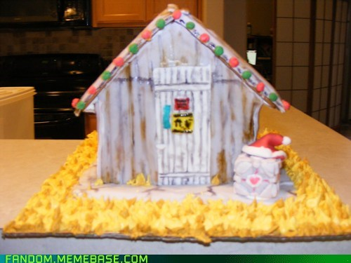 companion cube Fan Art gingerbread house portal 2 - 5609352448