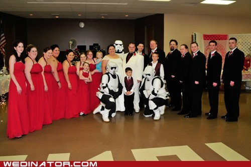 bride,funny wedding photos,geek,groom,star wars