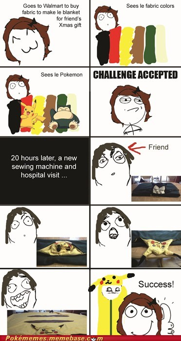 Challenge Accepted,crafts,derp gusta,fabric,pikachu,Rage Comics,xmas gift