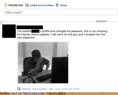 facebook facepalm hacked status updates - 5612475648