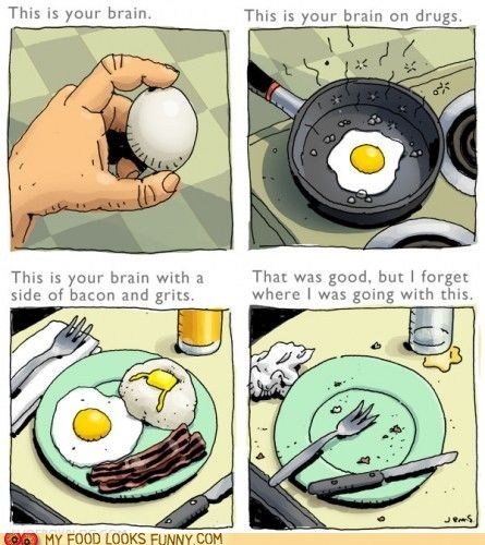 bacon brain breakfast comic drawing drugs egg grits
