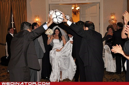 bride,funny wedding photos,soccer,sports