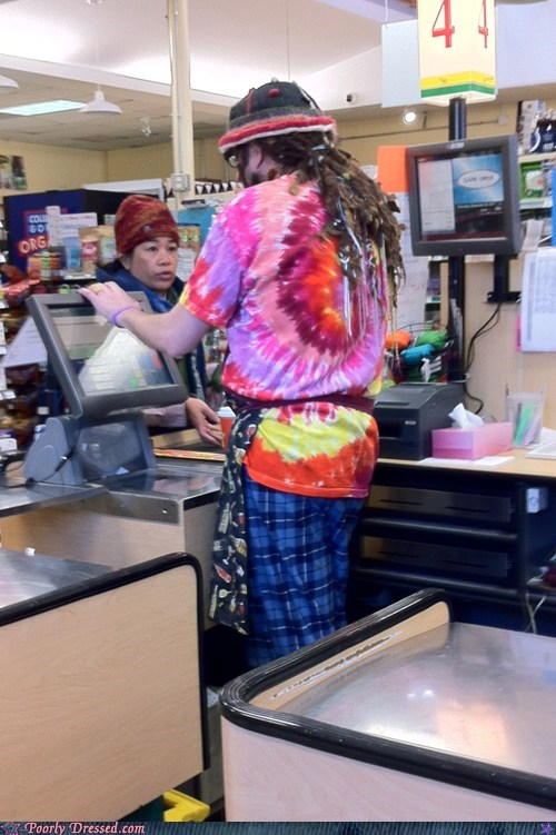dreadlocks,tie dye,work attire