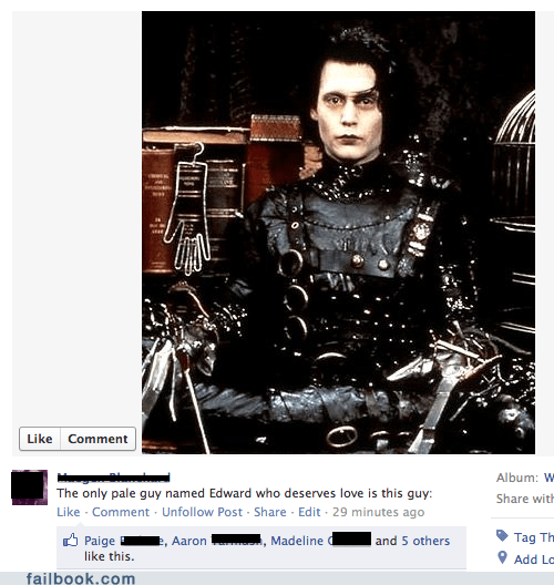 cullen edward facebook failbook g rated scissorhands social media twilight - 5616209408