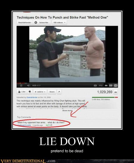 hilarious,lie down,martial arts,play dead,wtf
