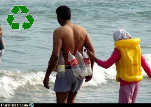 beach DIY floaty g rated ocean plastic bottle recycling summer fails swimming there I fixed it