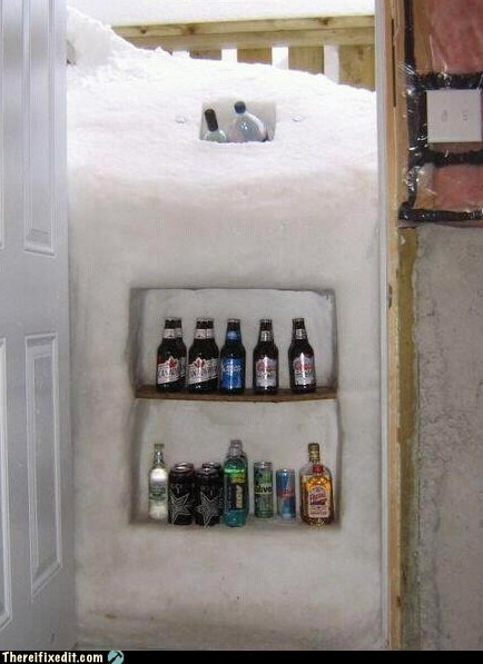 beer,drinking,g rated,ice,refrigerator,snow,there I fixed it,winter,winter time