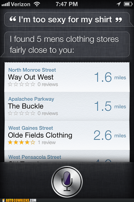 clothing stores,im-too-sexy,sexy,siri