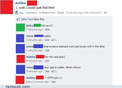 dad facebook failbook g rated parents wheres waldo witty reply your friends are laughing your friends are laughing at you - 5617642752