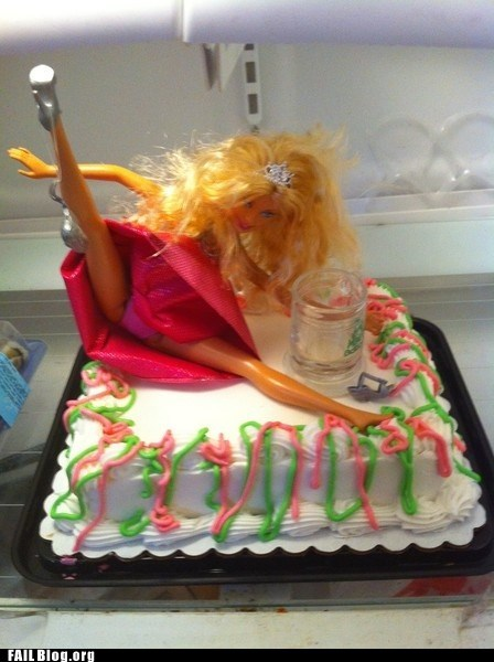Barbie cake drinking food partying