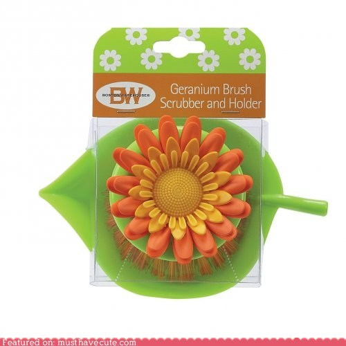 brush dishes Flower scrubber sink