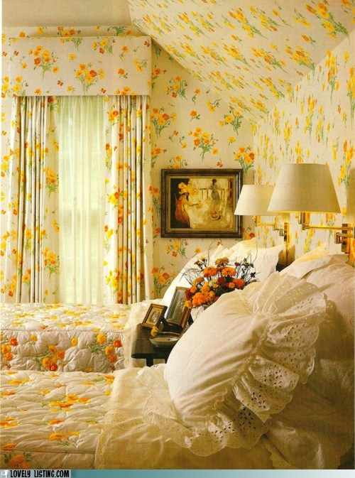 cheery crazy flowers pattern yellow - 5617796096