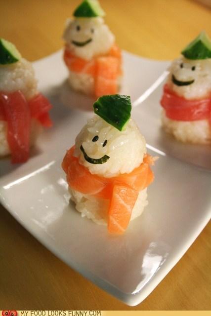 cute face fish ric seaweed snowman sushi - 5617858304