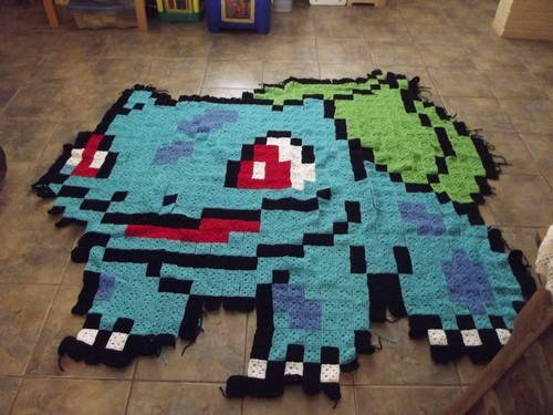 afghan,blanket,bulbasaur,crochet,DIY,Pokémon,video games