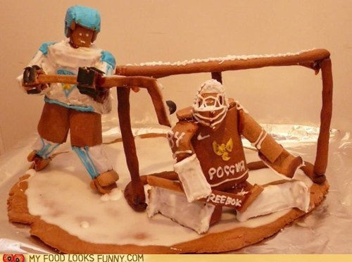 gingerbread goal goalie hockey icing
