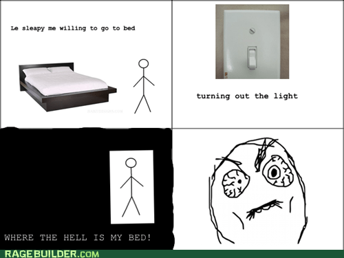 bed dark lights off lost Rage Comics