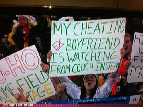 cheating ex boyfriends fans football sign - 5618333440