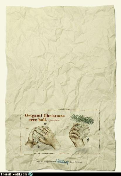 christmas DIY origami ornament - 5618797824