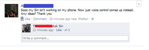 ask siri broken facebook siri troubleshooting - 5618801920