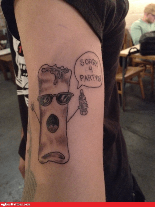 burritos drinking food g rated partying tattoos Ugliest Tattoos words - 5619008256