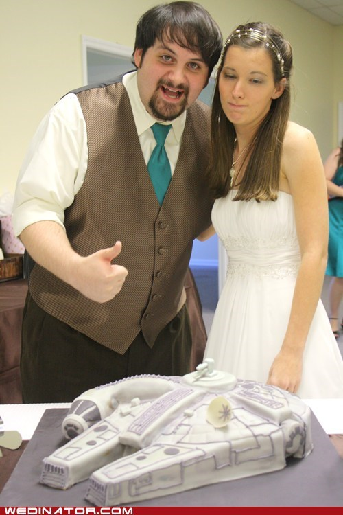 cake,funny wedding photos,grooms-cake,millenium falcom,star wars