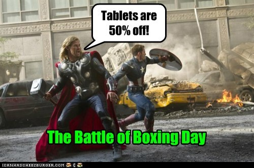 avengers Battle boxing day chris evans chris hemsworth mjolnir tablets