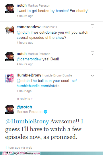 humble indie bundle humblebrony IRL minecraft notch twitter - 5620101376