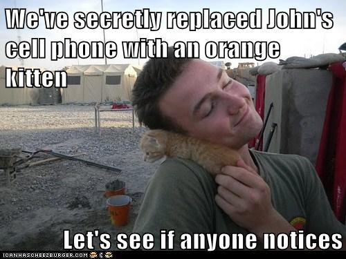 We've secretly replaced John's cell phone with an orange kitten Let's see if anyone notices