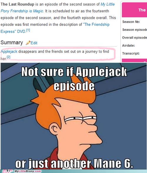 applejack fry meme mane 6 not sure the last roundup TV - 5620903424