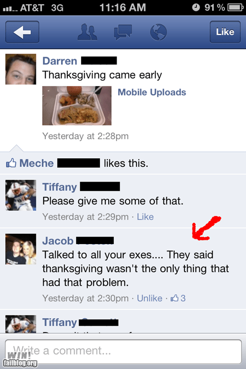 ex facebook food one liner orgasm sex thanksgiving zing - 5620916992