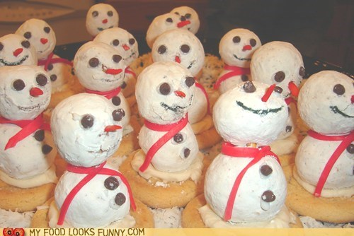 army,donuts,powdered sugar,scary,snowmen