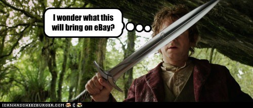 Bilbo Baggins ebay Martin Freeman selling sting sword The Hobbit - 5621342976