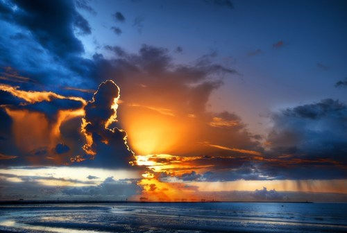 beach clouds getaways gold orange sky sunsey unknown location user submitted vivid colors water - 5621527808