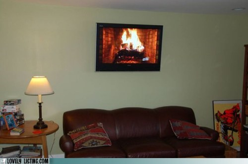 couch fire fireplace TV wall