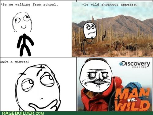 man vs wild,me gusta,Rage Comics,walking