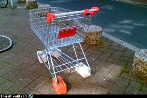 block cutbacks recession shopping cart wheels