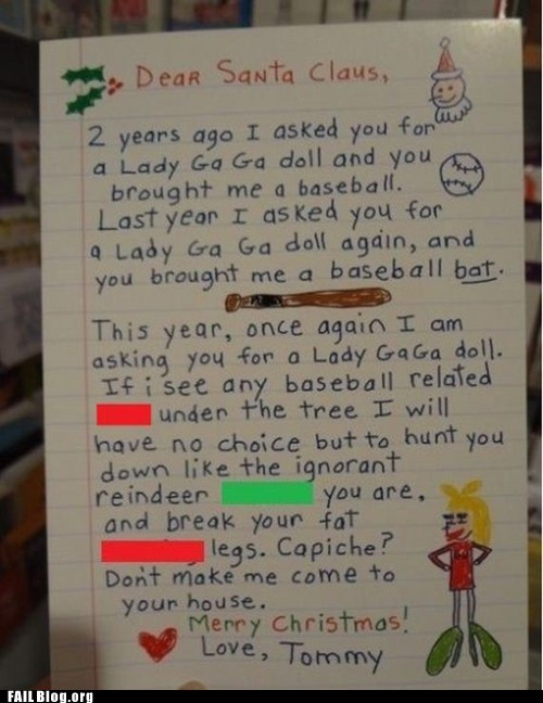 baseball christmas Hall of Fame kids lady gaga letters to santa