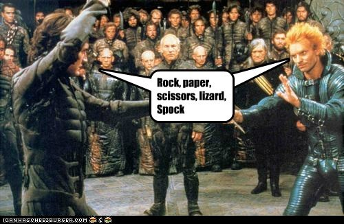 david bowie,david lynch,Dune,knife fight,kyle maclachlan,lizard,rock paper scissors,Spock