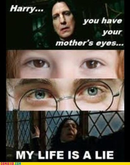 Harry Potter,life is a lie,Memes,mothers-eyes,snape